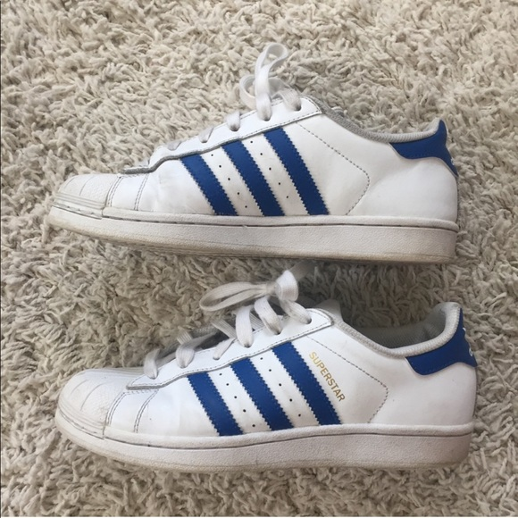 adidas superstar shoes blue and white